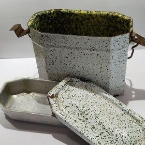 Vtg French Graniteware splatter enamel lunchbox